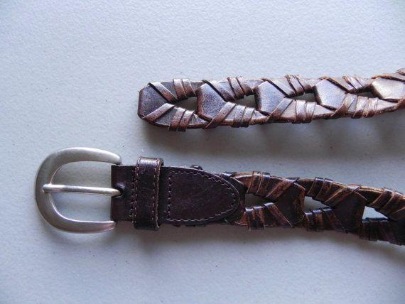 brown leather belt / loose weave / brass door PrepsRuleVintage