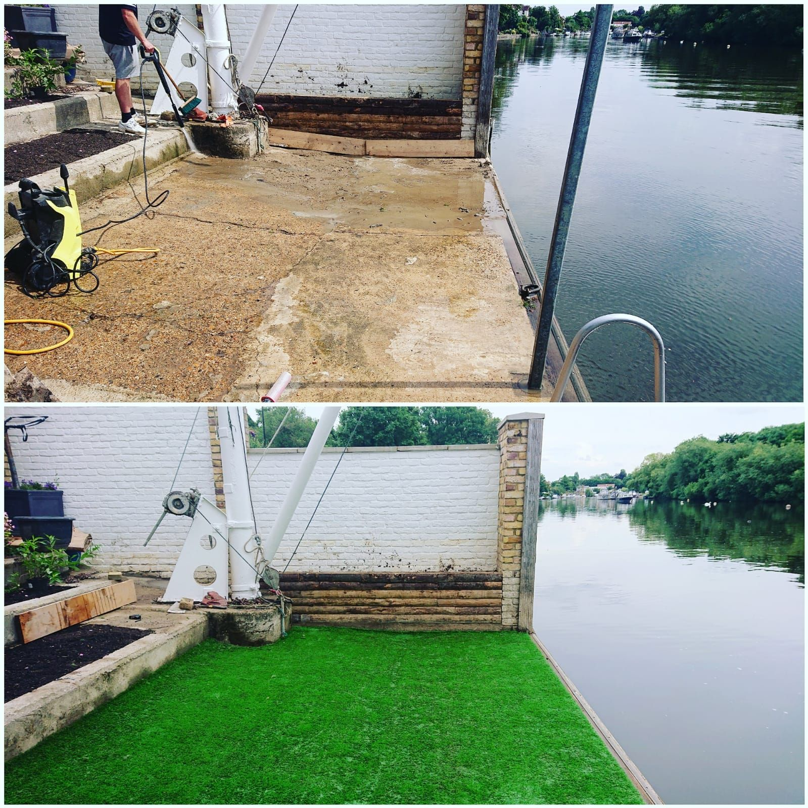 This was one of my favorite jobs, we couldn't have worked any closer to the river! To find out how to lay your very own artificial grass, build your own flowerbed or anything else garden related, be sure to follow our website!  #gardening #gardener #gardenblog #gardeningblog #landscaping #landscapegardening #gardenideas