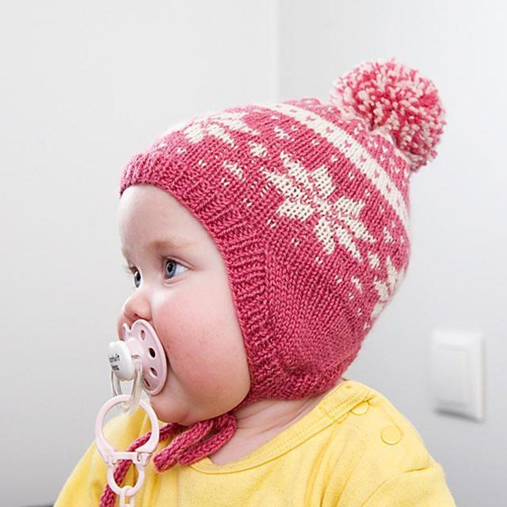 Baby snowflake hat snowflake pattern baby hats and knitting a cute woolen red and white baby hat featuring nordic snowflake pattern size will fit bankloansurffo Image collections