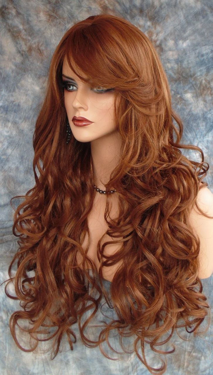 Long curly heat safe skin top wig clr fs red gorgeous sexy us