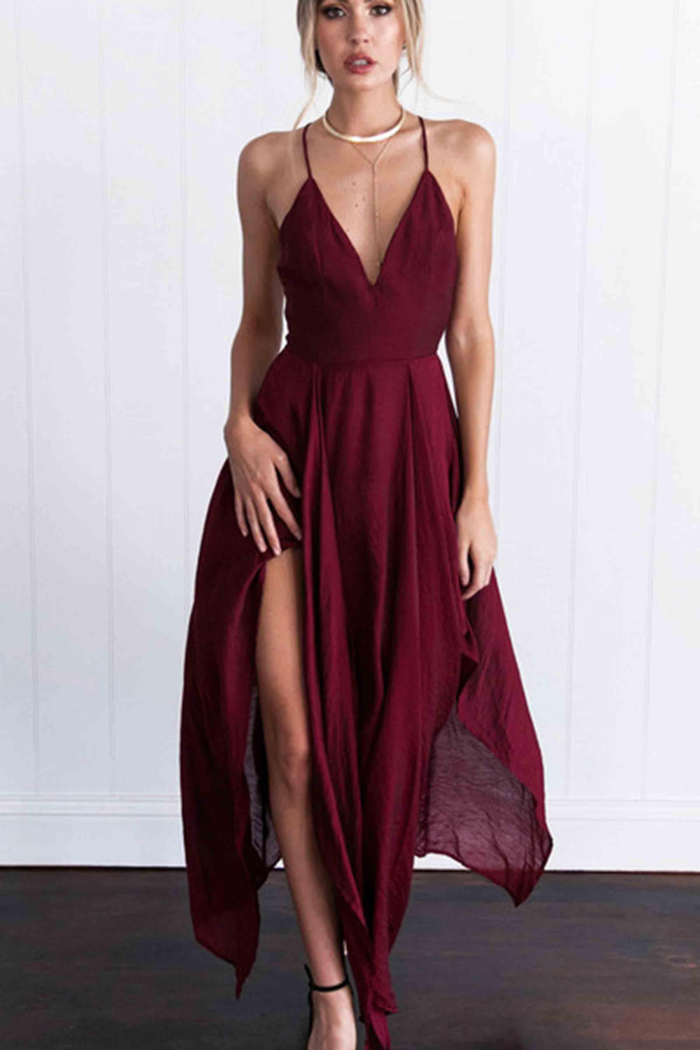 6978ad2234 Sexy v-neck burgundy chiffon prom dress