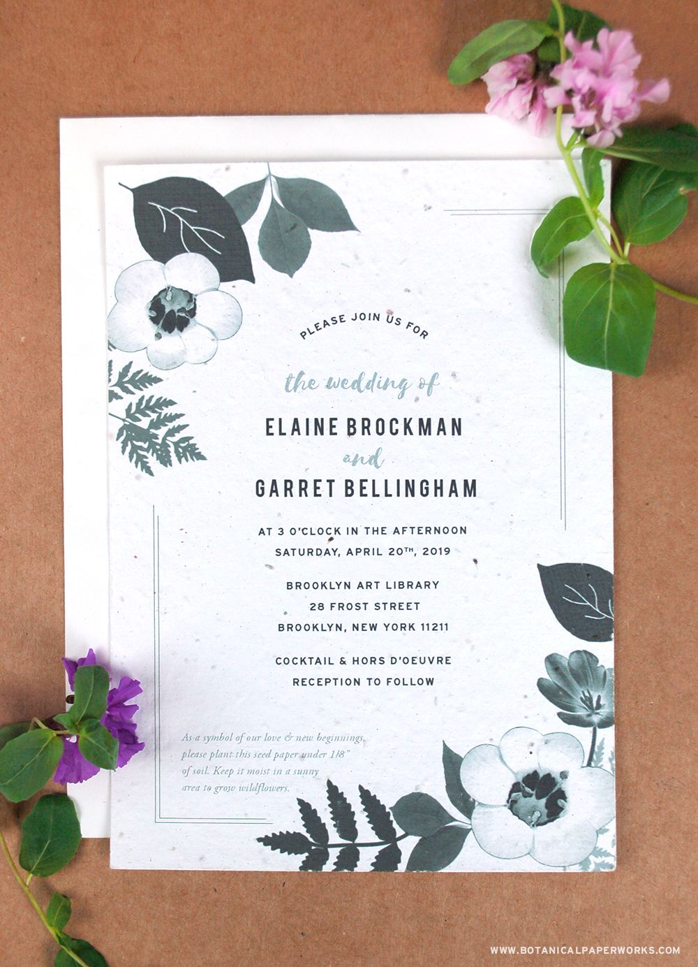 Tasteful and elegant, this black and white floral wedding invitation ...