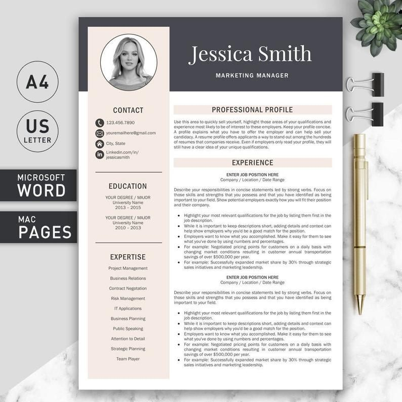 Modern Resume Template Professional Resume Template for