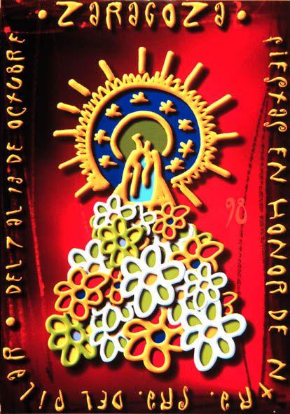 Cartel a concurso del Pilar año 1998 Titulo: Ofrenda floral