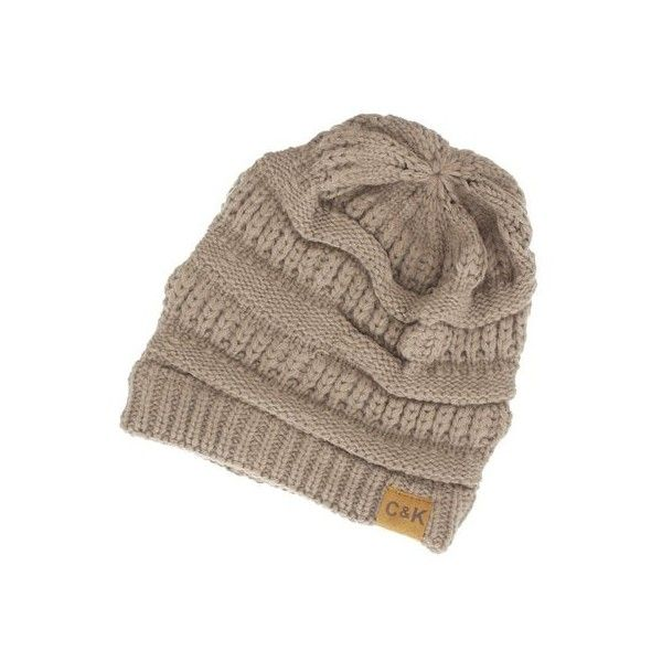 Women's Cents of Style Slouchy Knit Beanie Mocha ($15) ❤ liked on Polyvore featuring tops, brown, knit top, embellished knit tops, embellished top, brown top and slouchy tops