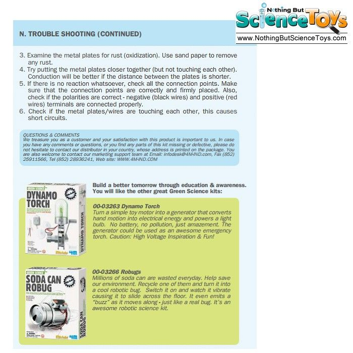 4m Kidz Green Science Enviro Battery Educational Science Toy Kit