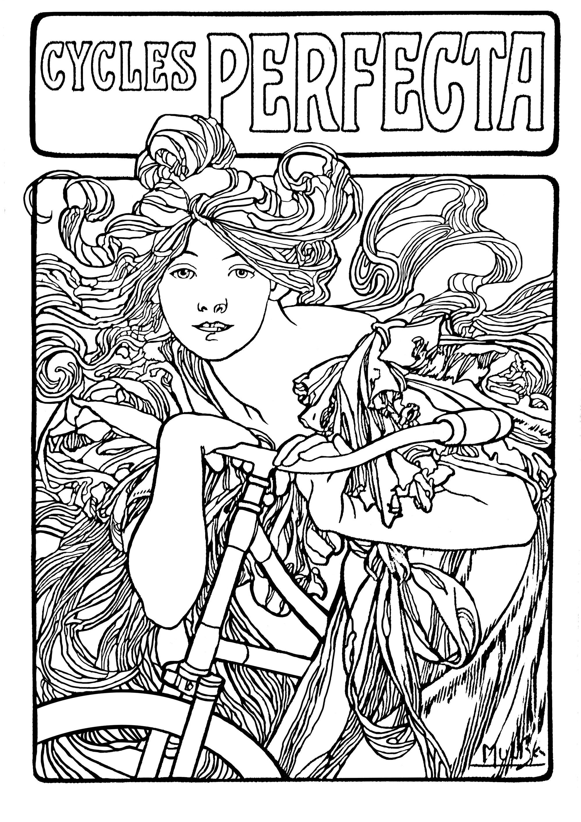 Cycles perfecta alfons mucha art nouveau coloring pages