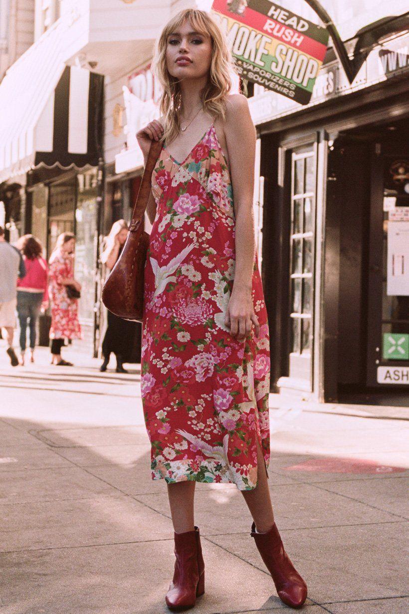 60580ea72de4f Staz Lindes wears Spell Designs Delilah Patchwork Slip Dress Spell ...