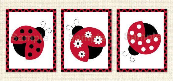Cute Ladybug Nursery Wall Art / Ladybug Nursery Wall Art / Ladybug ...