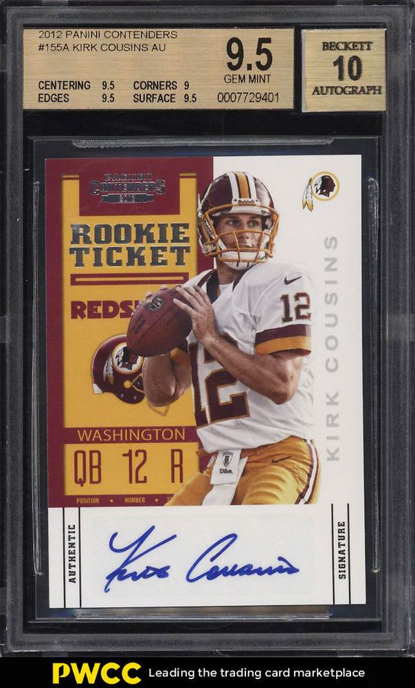 2012 Panini Contenders Kirk Cousins ROOKIE RC AUTO 155