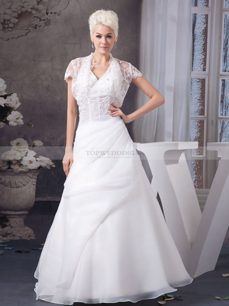 Appliqued halter v neck wedding dress with lace jacket gowns with