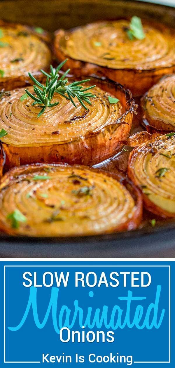 These Marinated Slow Roasted Onions get soft and creamy on the inside and caramelize on the outside roasting in a bath of red wine vinegar, brown sugar and spices. Mouthwatering aroma! #roasted #marinated #onion via @keviniscooking