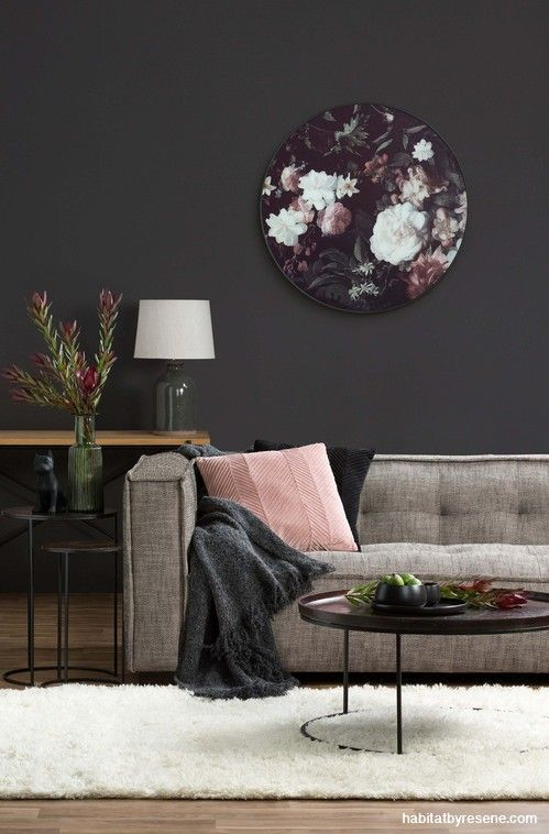 Living Room Feature Wall Decor: Living Room, Lounge, Dark Brown Wall, Feature Wall, Grey