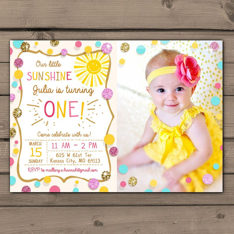 Sunshine Birthday Party Invite Sunshine Lemonade First Birthday ...