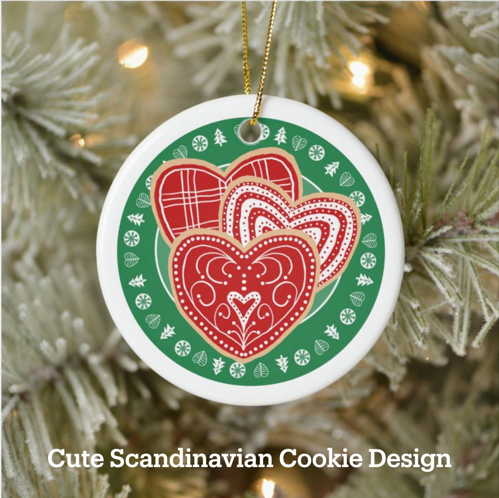 Scandinavian Christmas Cookies Folk Art Ceramic Ornament Zazzle Com In 2020 Scandinavian Christmas Ceramic Ornaments Scandinavian