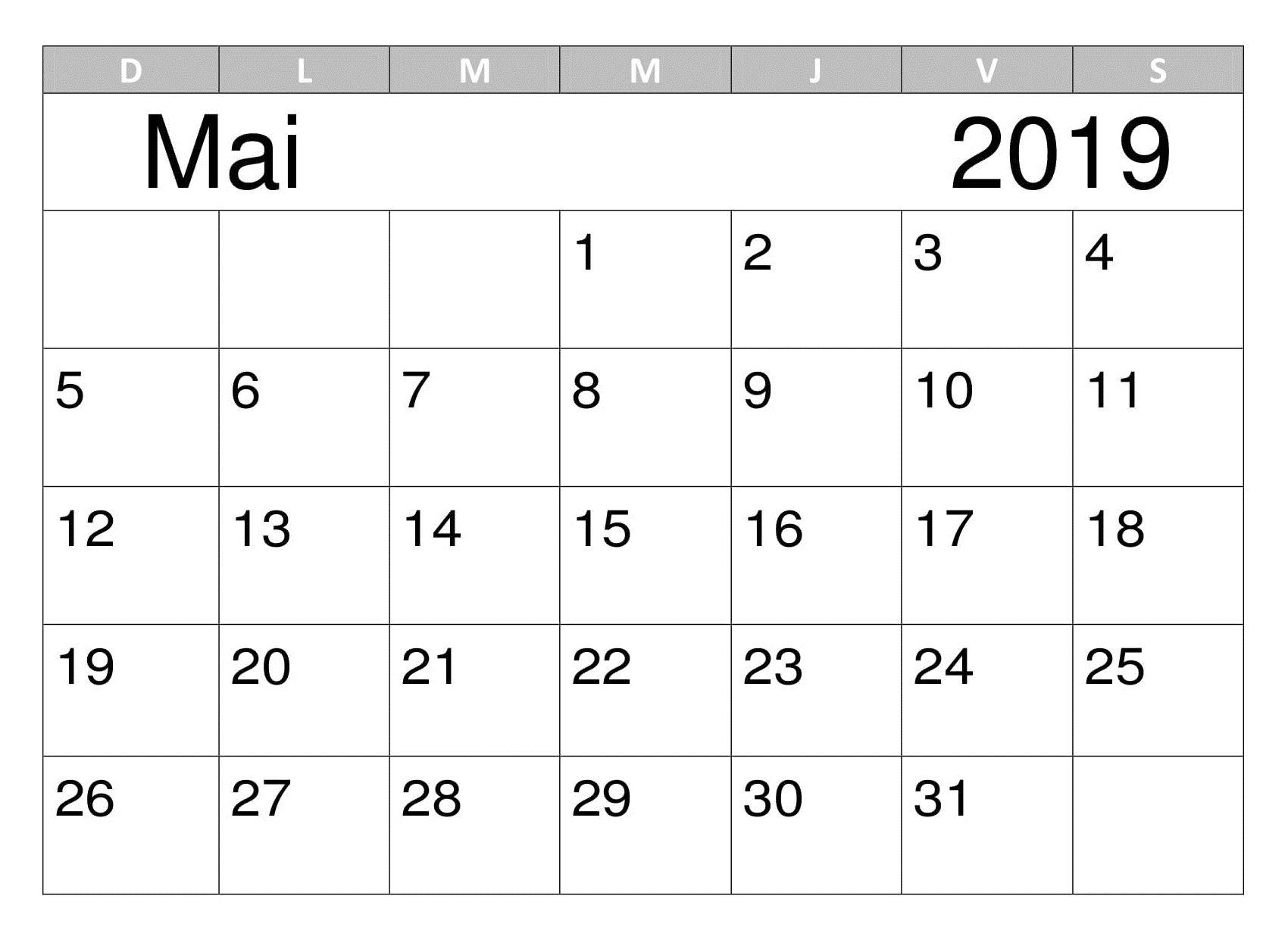Calendrier Mai Modele 2019 Calendar Calendar Printables 2019
