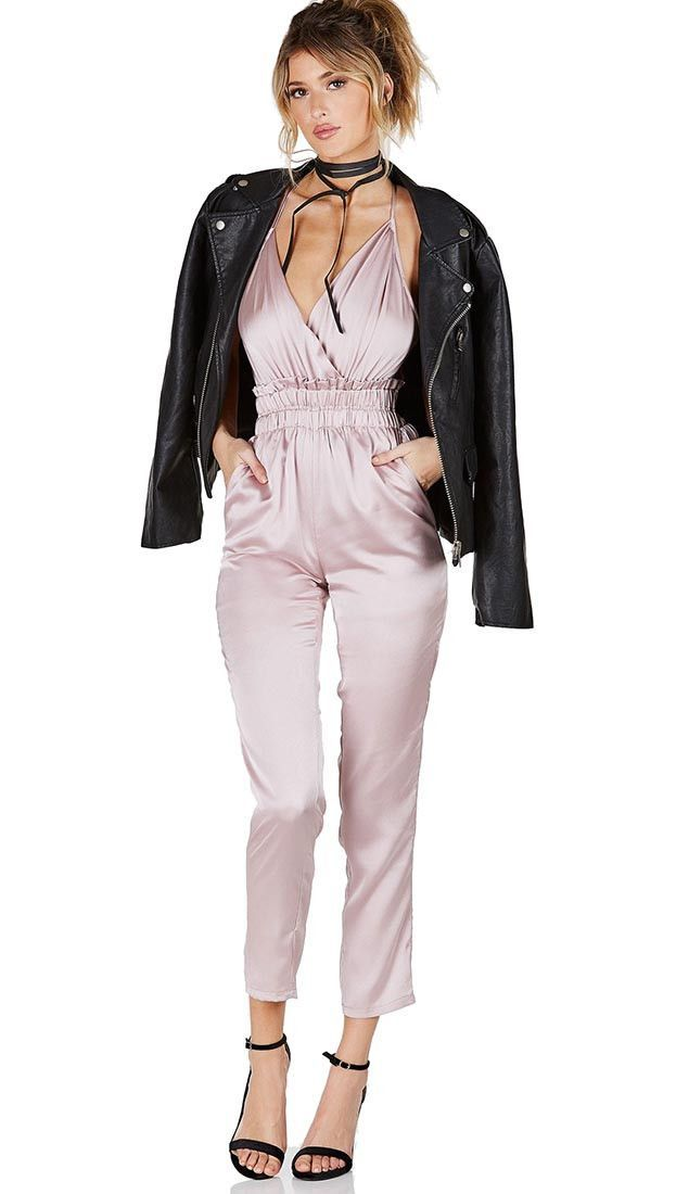 ed65544dec5 Satin pants jumpsuit with front pockets. V Neck wrap neckline. Criss-cross  back with adjustable straps. Stretchy empire gathered waistline. Has lining.