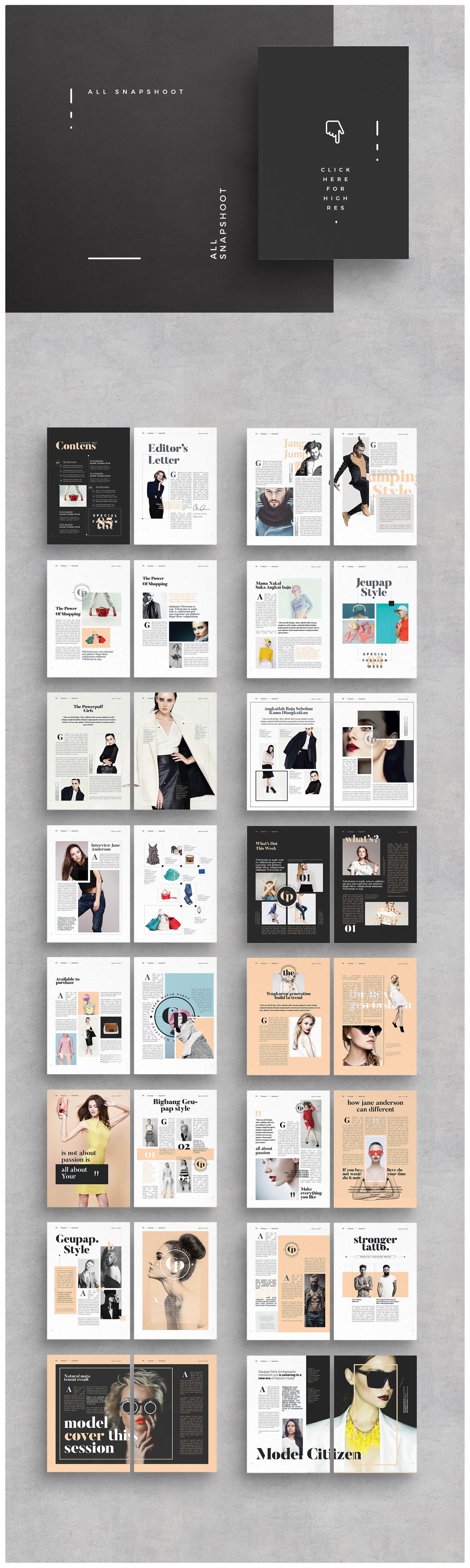 lookbook template brochure folio modern magazine hipster boho photography fashion portfolio. Black Bedroom Furniture Sets. Home Design Ideas