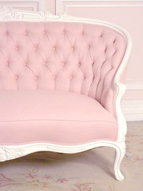 French Chic Pink Linen Settee with Roses  Shabby Chic & Cottage Style  Pinterest ...