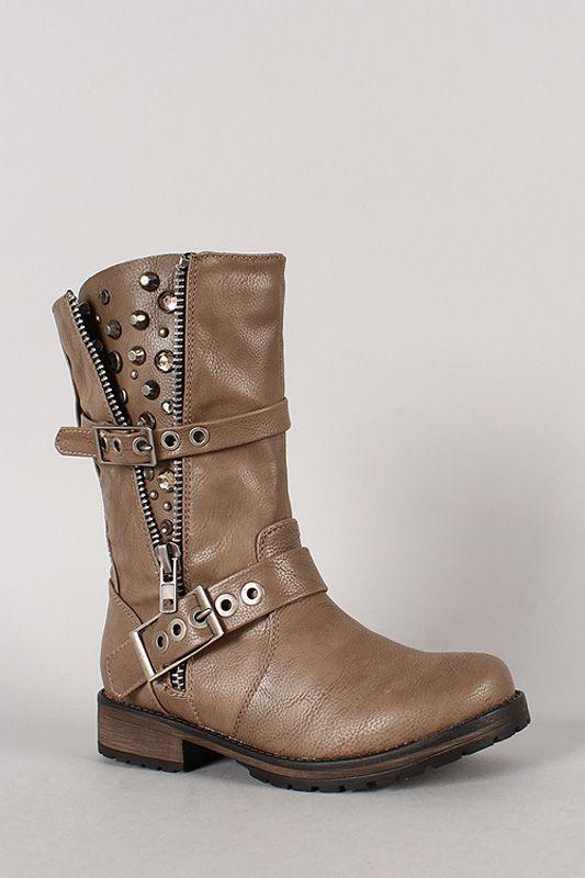 Breckelle Rocker-17 Jeweled Studded Zipper Riding Boot size 8