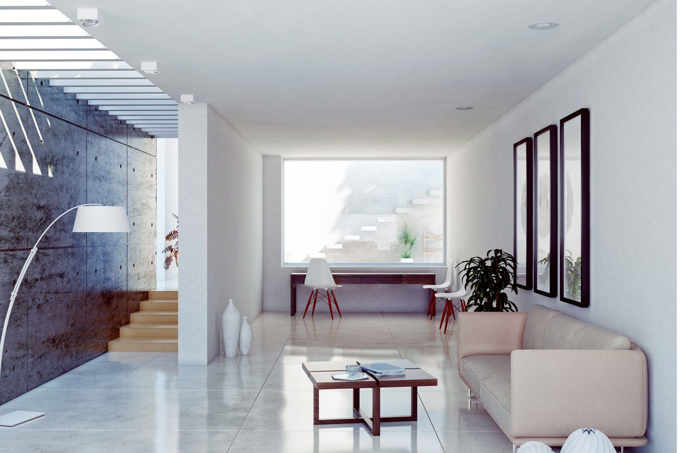 Woonkamer Met Beton : Onbehandelt beton als muur afwerking moderne woonkamer met eames