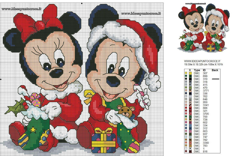 Immagini Natale Disney Baby.Baby Minnie E Topolino Natalizi Schema Punto Croce Disney