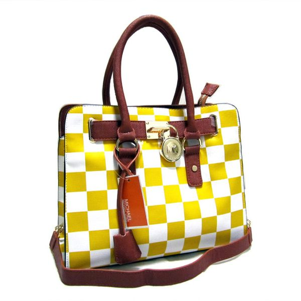 Michael Kors Outlet Hamilton Checkerboard Medium Yellow Totes -Michael Kors  factory outlet online sale now