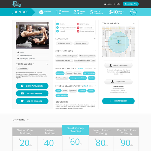 Design The Next Uber For Fitness Web Page Design Contest Design Web Page Elyacoubi Page Design West Palm Beach Florida Online Personal Trainer