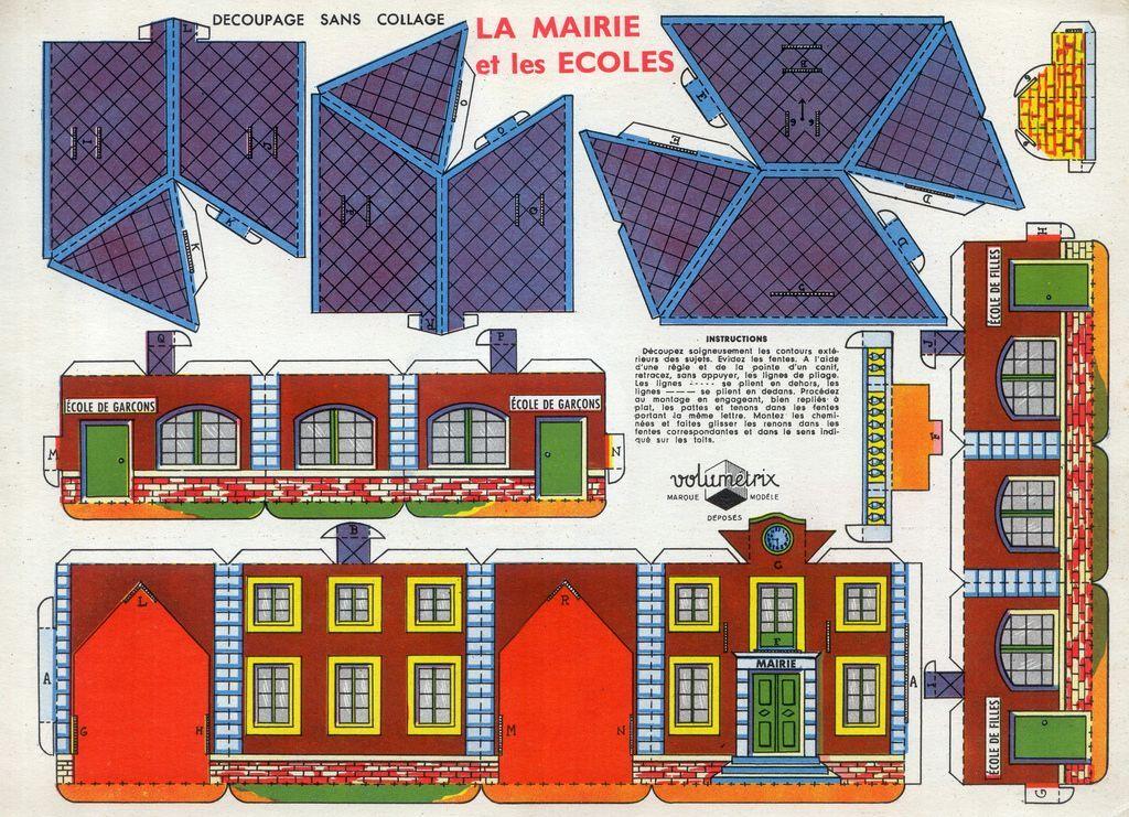 Village en papier la mairie et l 39 cole il suffit d 39 imprimer les planches et de d couper pas - Maison papier a decouper ...