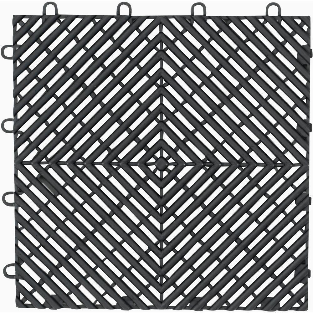 12inch x 12inch charcoal polypropylene garage flooring