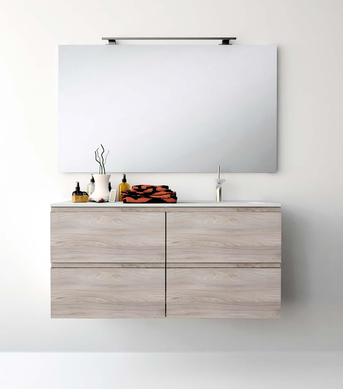 Uniba o pack212 ba o mueble de ba o con encimera de 120cm for Mueble con espejo para bano