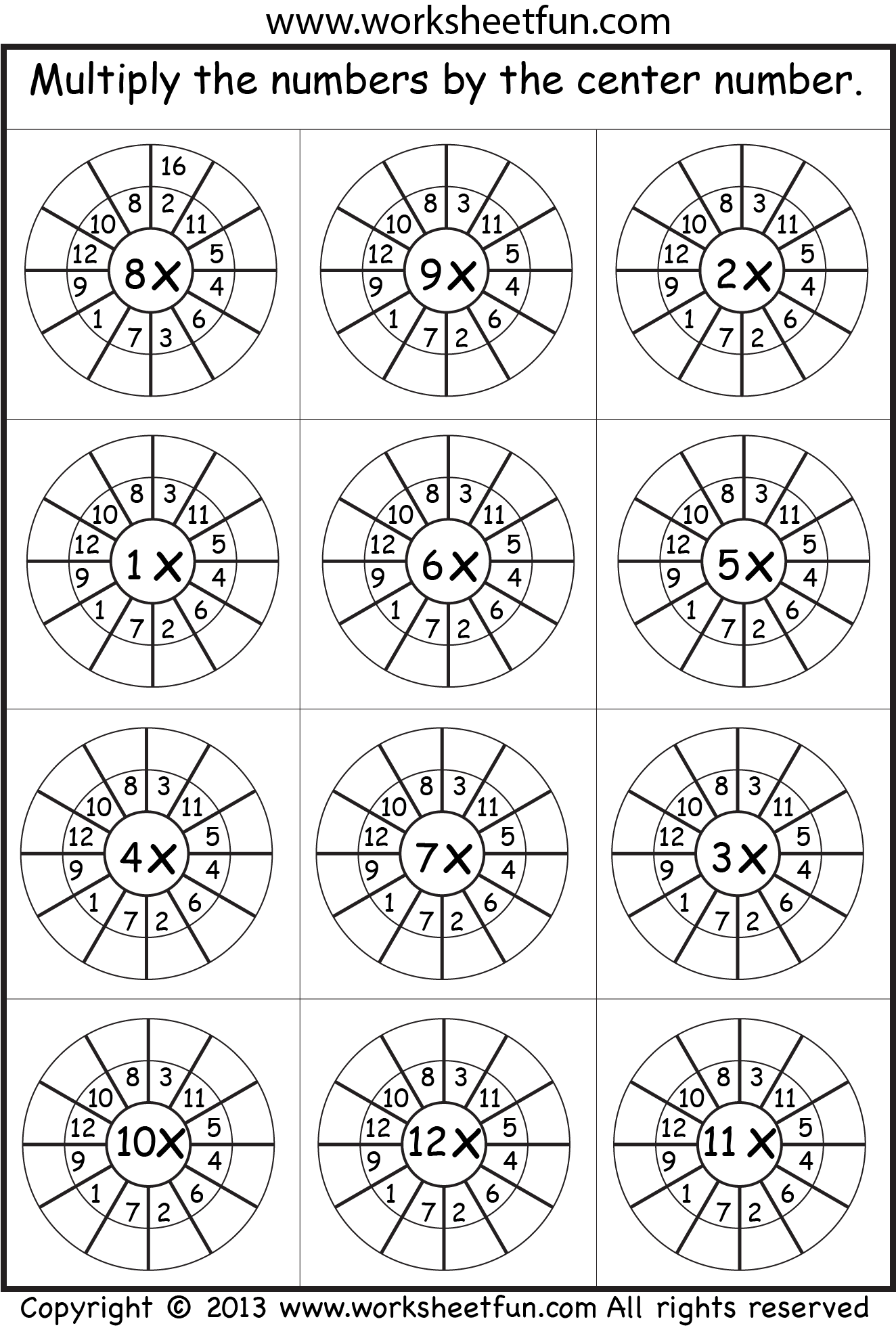 Multiplication Worksheet Helpful For Memory Work With