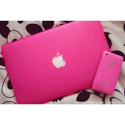 #pink #laptop #phone