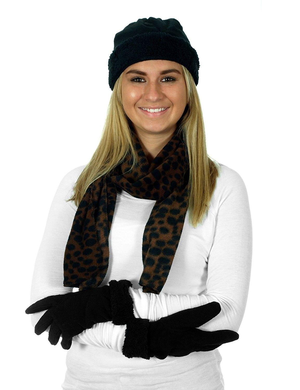 b6765bd6916 Women s 3 Piece Micro Fleece Hat- Scarf  amp  Gloves Set - Cheetah -  CF12CF711TB