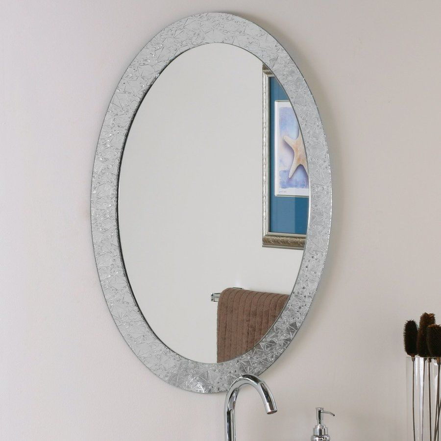 Decor Wonderland Crystal 23.6 In X 31.5 In Clear Oval Framed Bathroom Mirror