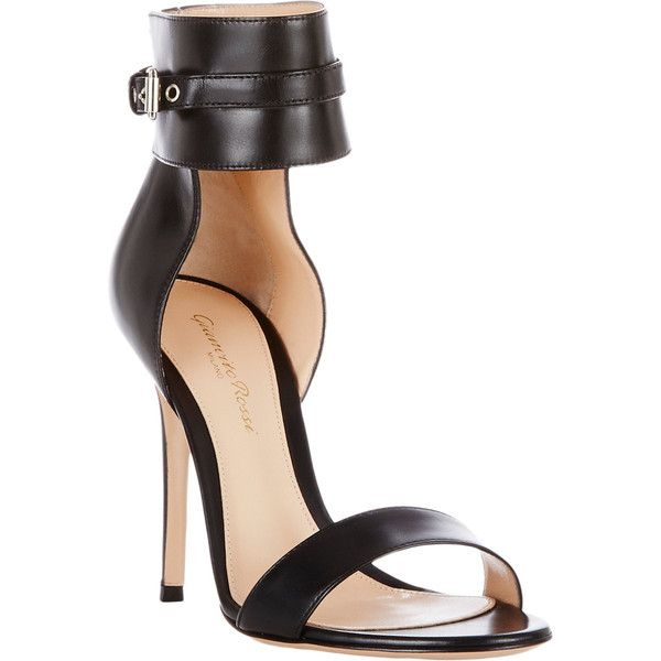 Gianvito Rossi Buckle-Cuff Sandals ($349) ❤ liked on Polyvore featuring shoes, sandals, wide sandals, cuffed sandals, black stilettos sandals, black sandals and high heels stilettos