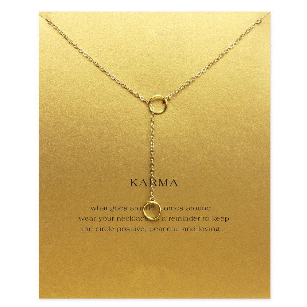 7f39e6e965a1 ... acerca de Sparkling karma doble círculo lariat collar chapado en oro  Colgante collar de Cadenas de Clavícula Collar de Moda Joyería de Las  Mujeres