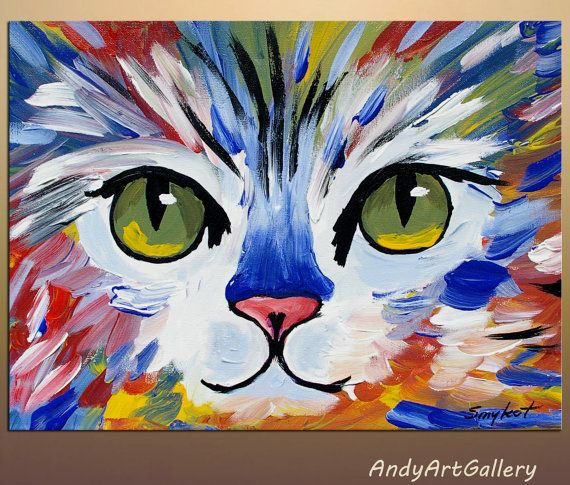 original abstract cat painting acrylic on canvas by. Black Bedroom Furniture Sets. Home Design Ideas