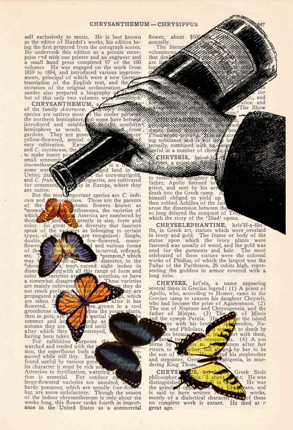 4 X Vintage Prints Dictionary Pages Wall Art Pictures Birds Love Butterflies