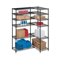 L Shaped Storage Unit With 12 Wire Shelves Wire Shelving Shelves Wire Shelving Units