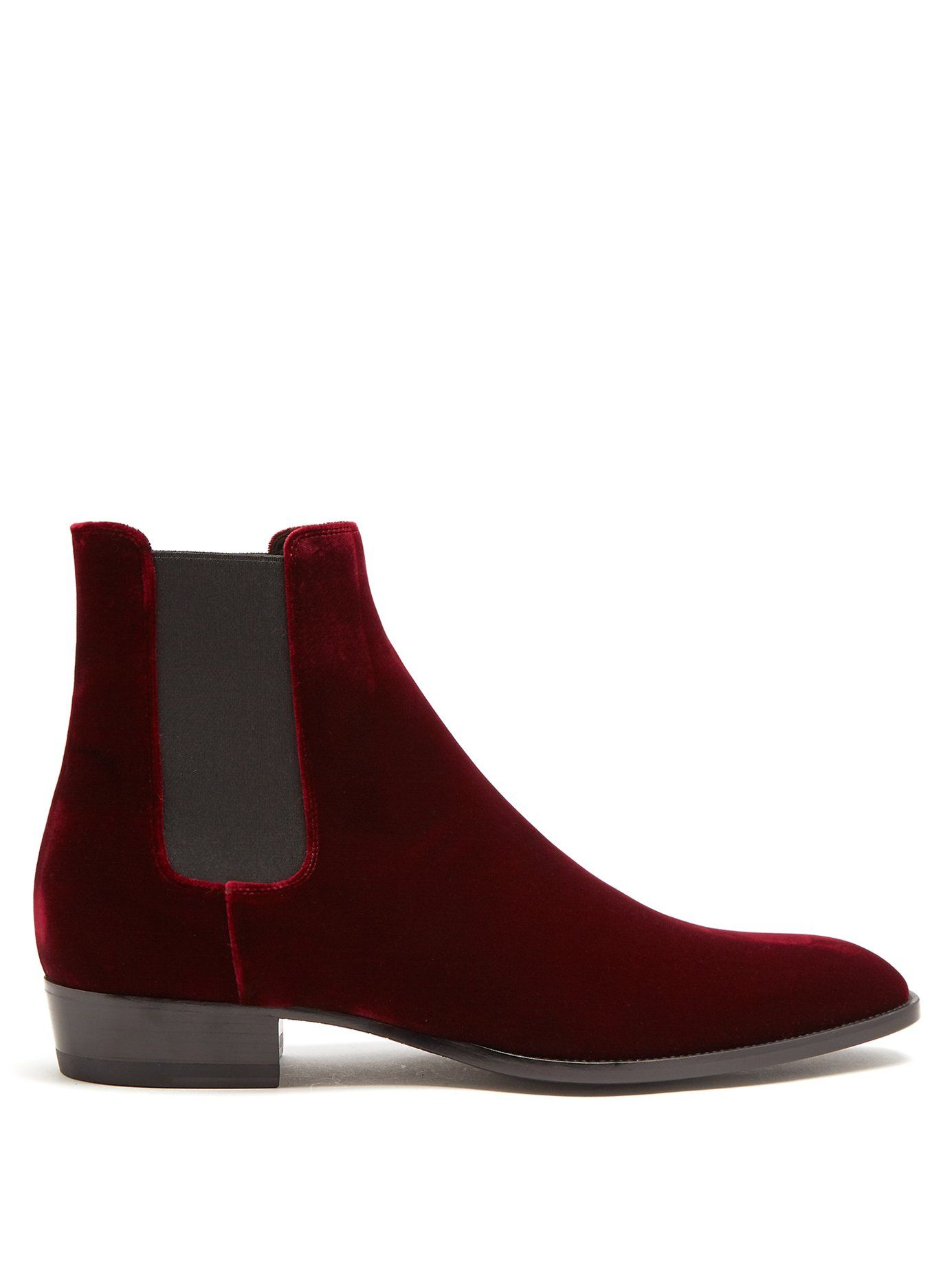 54dc86ff SAINT LAURENT WYATT VELVET CHELSEA BOOTS. #saintlaurent #shoes ...