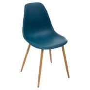 Chaise Bleue Pied Metal Easy Mobilier En 2020 Chaise Bleu Chaise De Salle A Manger Chaise
