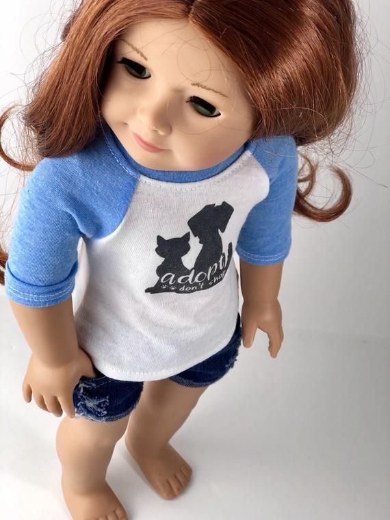 18 Inch Doll Clothes | Adopt Don't Shop Graphic 3/4 Blue Sleeve BASEBALL TEE for 18 Inch Doll Dog Cat Pet Animal #18inchdollsandclothes