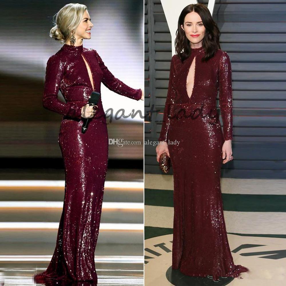 ef981ea3b7 Elegant Slim Sparkly Sequin Evening Dresses 2018 High Neck Long Sleeve  Shining Celebrity Gowns Sweep Train