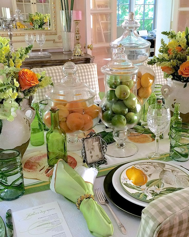 Summer Beach Tablescape And A Summer Tablescape Party: Father's Day Decorations: A Citrus Summer Tablescape