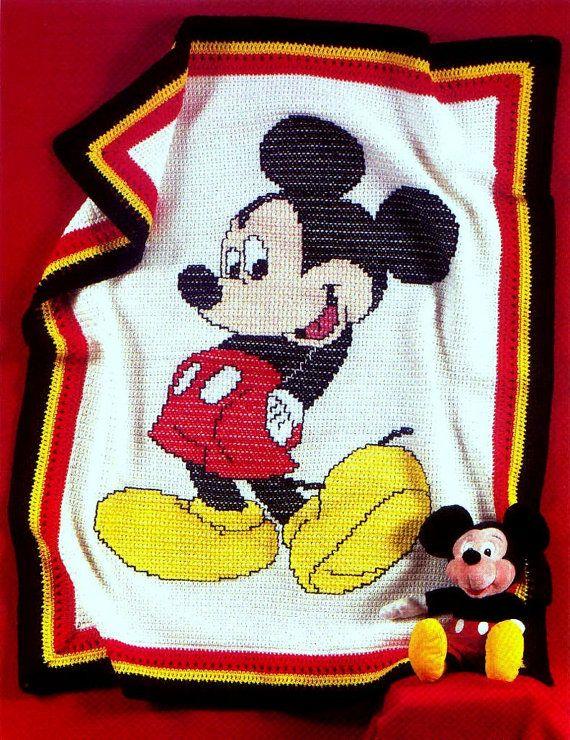 Vintage Crochet Pattern Mickey Mouse Afghan Blanket Bedspread Throw ...