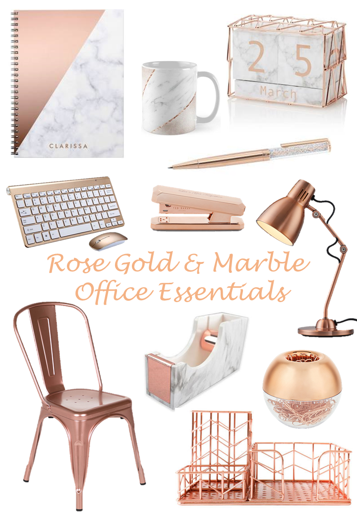 Rose Gold & Marble Office Essentials | Rose gold marble, Gold ...