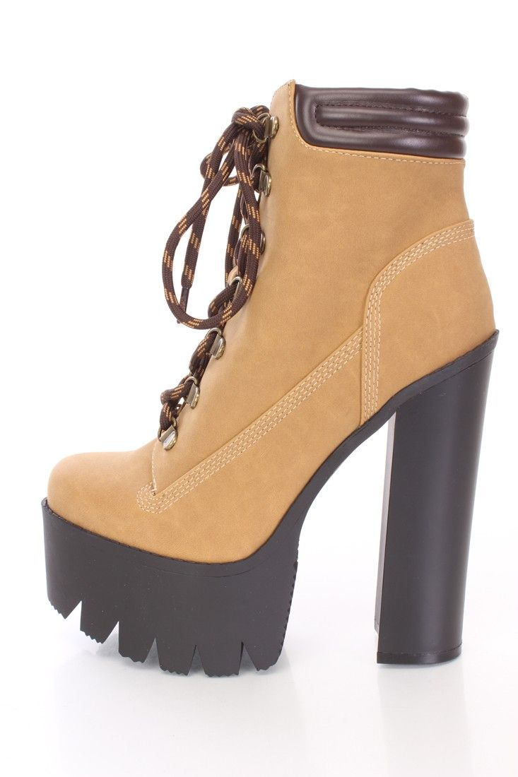 6c2a2c6afa Camel Lace Up Chunky Platform Booties Nubuck Goth Shoes, Club Shoes, Cute  High Heels