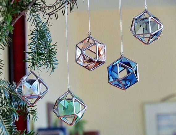 Christmas Tree Ornament Blue Glass Crystal Geometric Etsy Stained Glass Christmas Stained Glass Ornaments Stained Glass Diy