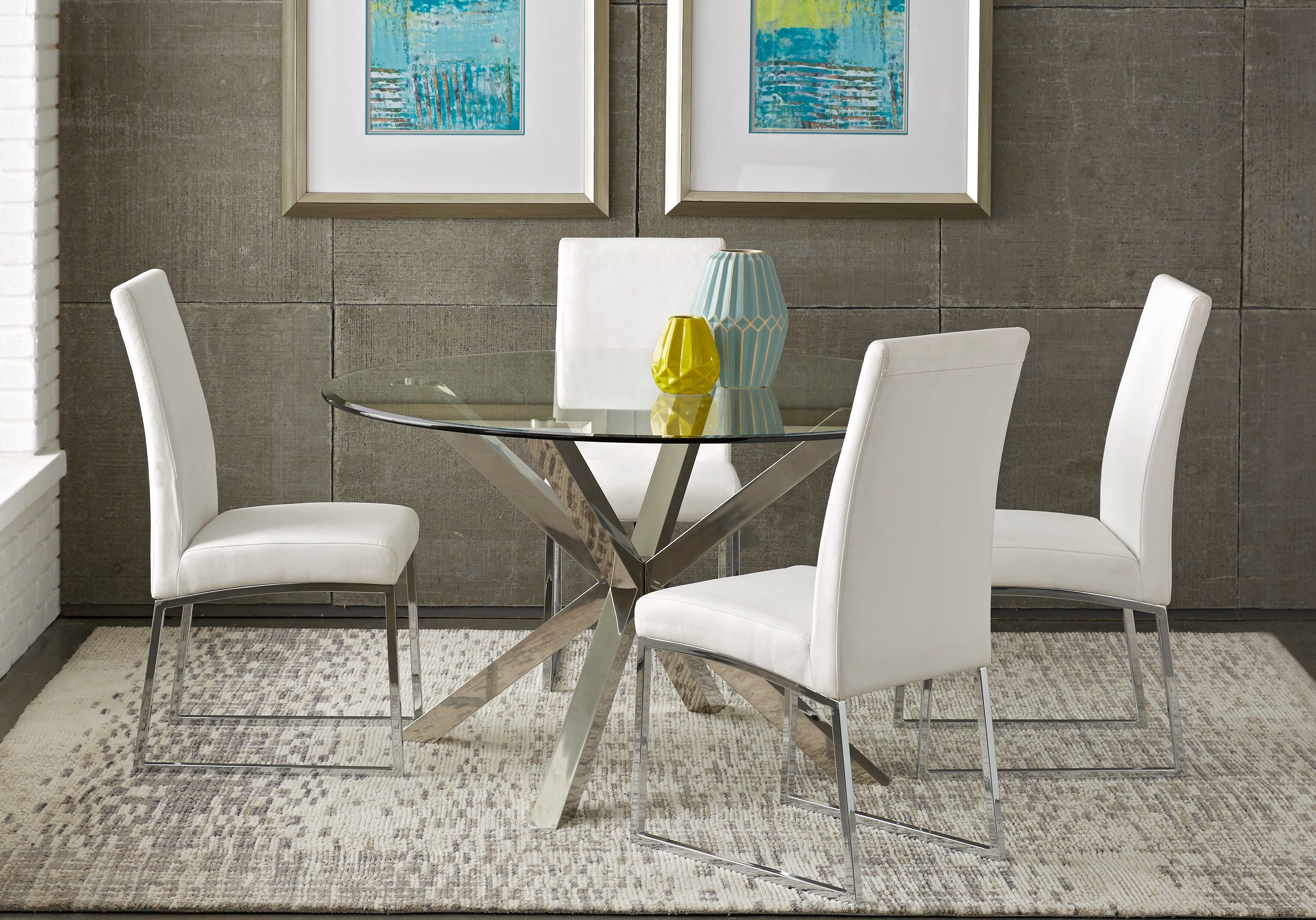 Jules Gray 5 Pc Dining Set With Off White Chairs Round Dining